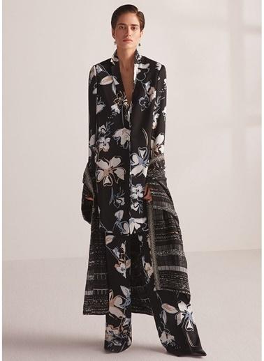Beymen Collection Çiçek Desenli Bol Paça Krep Pantolon Siyah